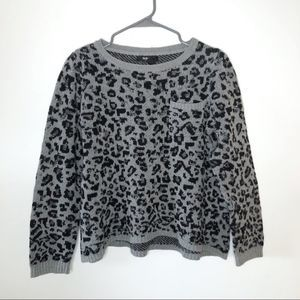 Style & Co Gray and Black Pocket Leopard Sweater